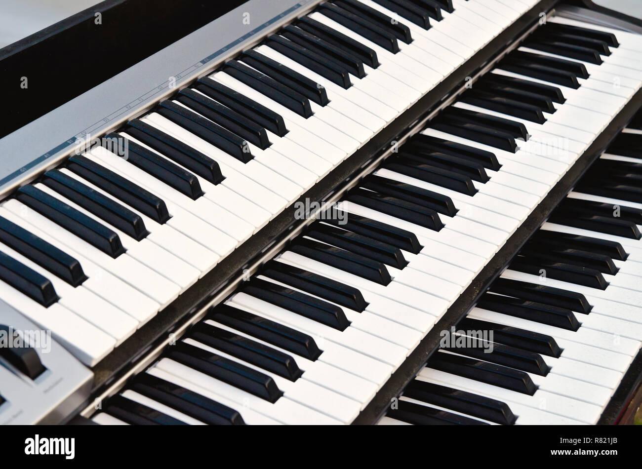part of synthesizer keyboard closeup - Stock Image