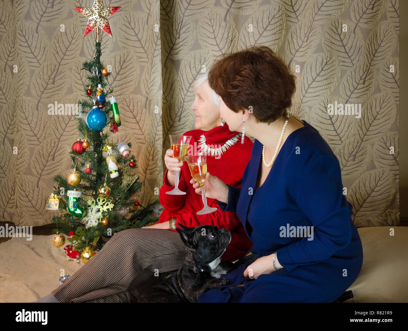 Family moments at Christmas time. old woman smile. grandmother and her daughter are sitting near Christmas tree. spirit of New Year. Clink glasses with champagne. - Stock Image