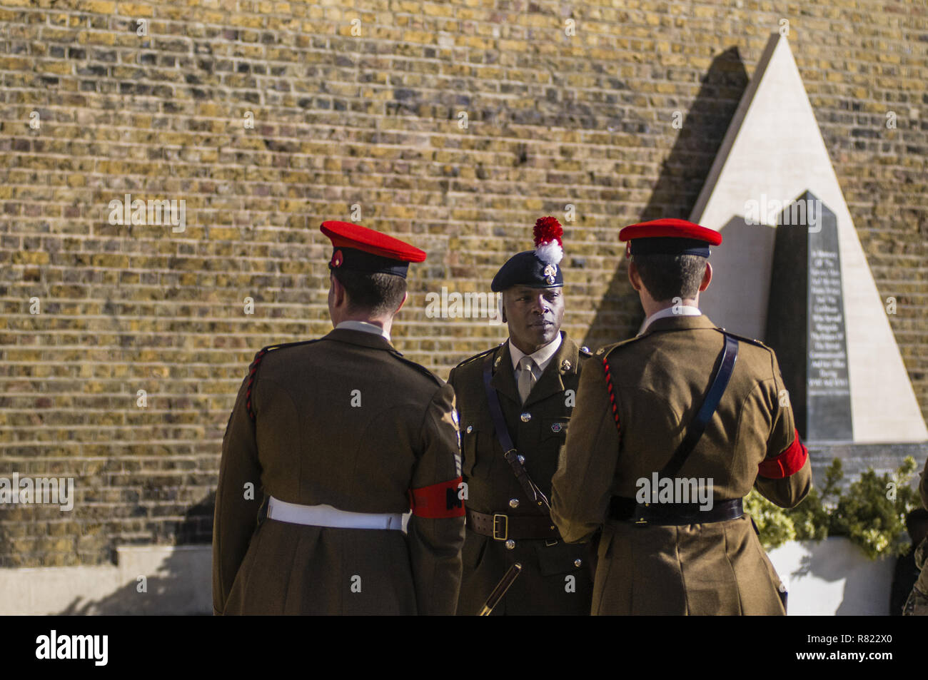 At 11:00, the bugle sounded in Lambeth, near the Stockwell station. With the MP detachment and the London fire fighters, wreaths are laid at the foot of the monument where 574 local men are remembered  At 13:00, on Windrush square, Afro-Caribbean and African solders are remembered  Featuring: 253 Provost Company 4 RMP Where: London, United Kingdom When: 11 Nov 2018 Credit: Alozie/WENN.com - Stock Image