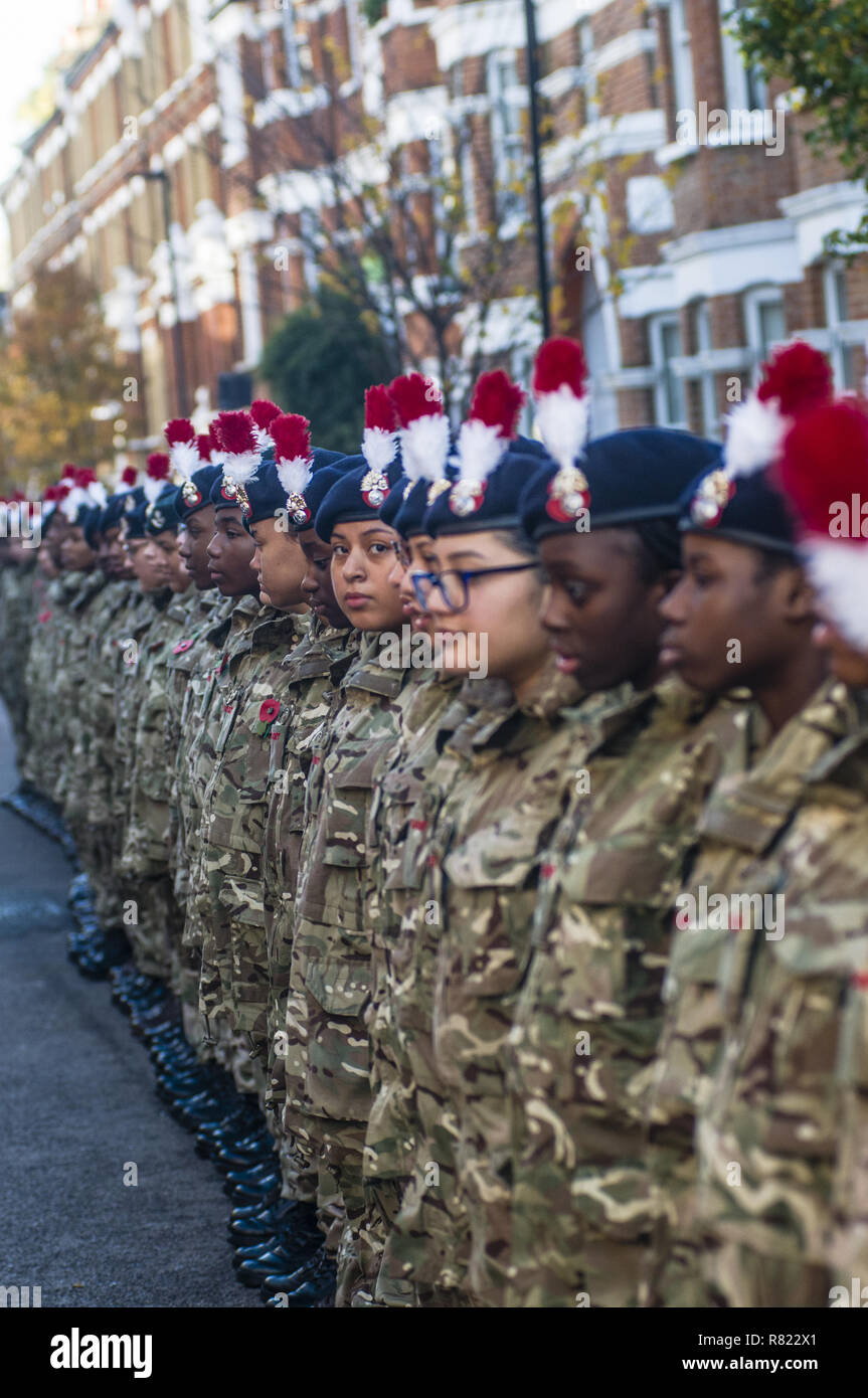 At 11:00, the bugle sounded in Lambeth, near the Stockwell station. With the MP detachment and the London fire fighters, wreaths are laid at the foot of the monument where 574 local men are remembered  At 13:00, on Windrush square, Afro-Caribbean and African solders are remembered  Featuring: Cadets in Brixton Where: London, United Kingdom When: 11 Nov 2018 Credit: Alozie/WENN.com - Stock Image