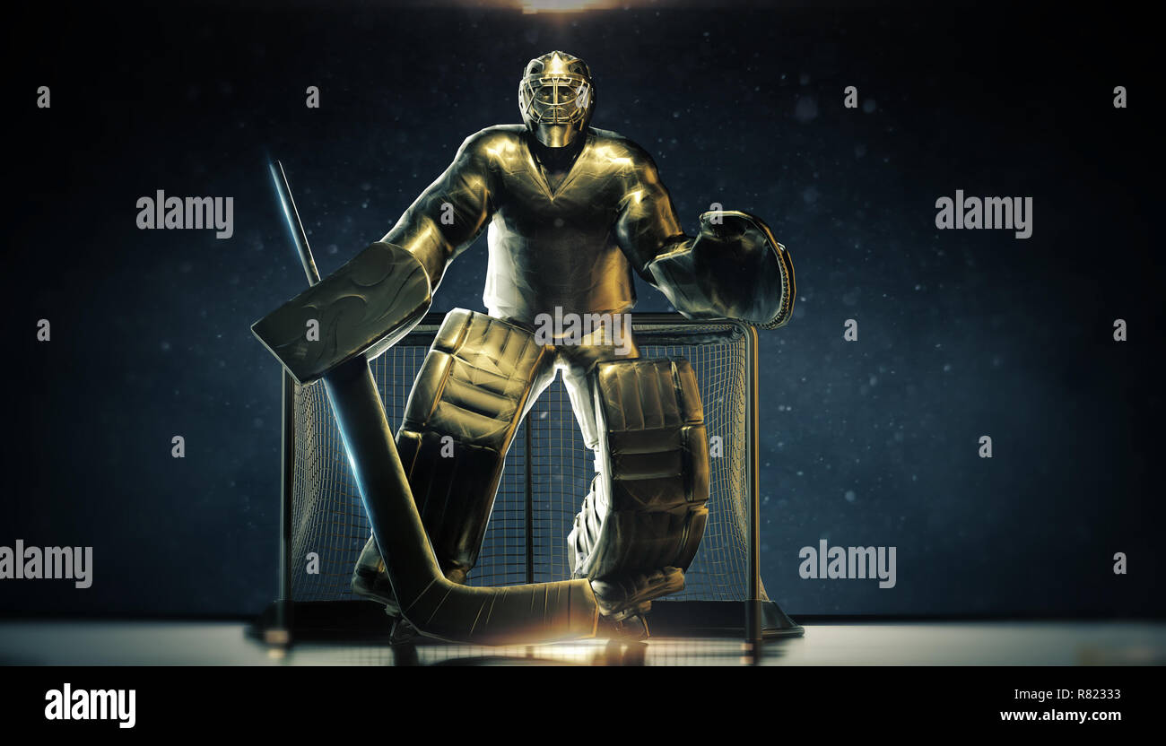 Shining Bronze Metal Statue Of Ice Hockey Goalie In Front Gates With