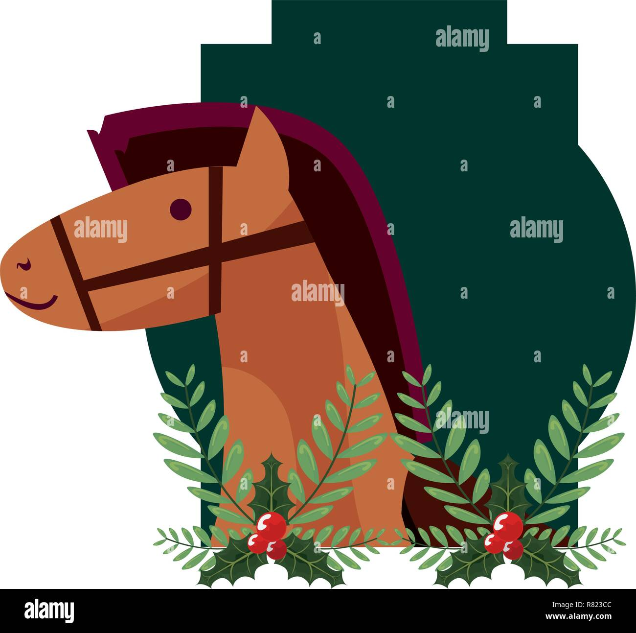 Christmas Horse Leaves Decoration Label Vector Illustration Stock Vector Image Art Alamy