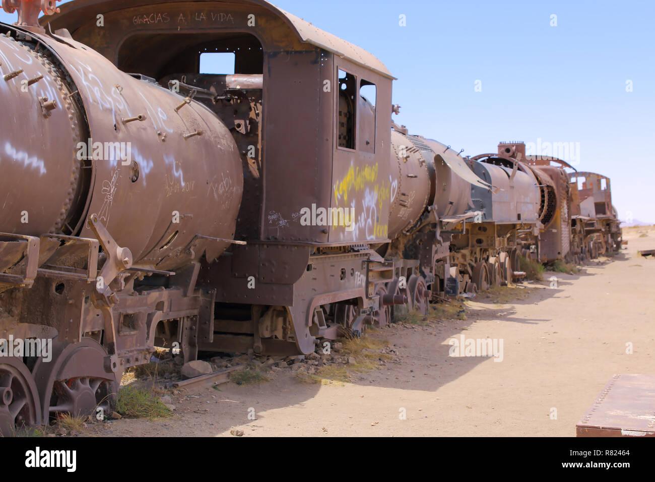 Rusty old steam train in the Train Cemetery, in Uyuni, Bolivia near the salt flats Stock Photo