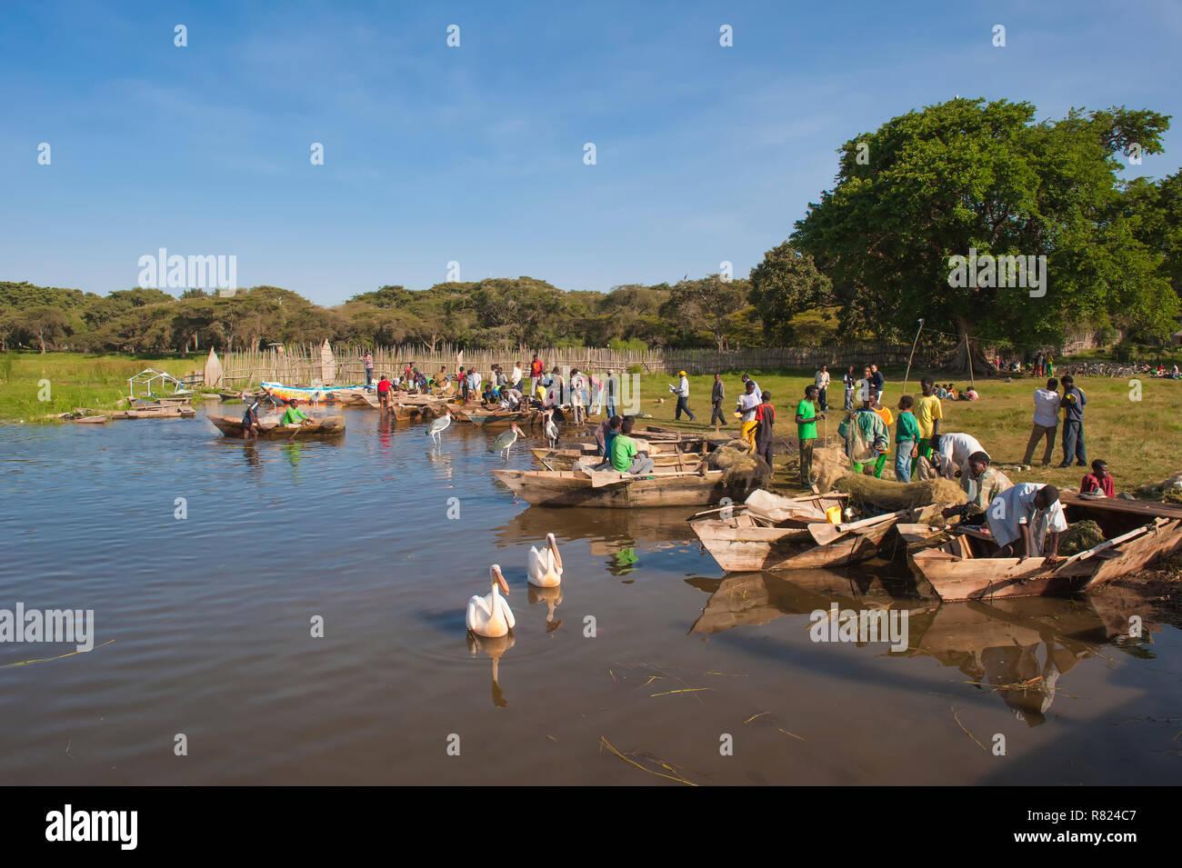 Boats at the fishing harbor, Awasa, Ethiopia - Stock Image