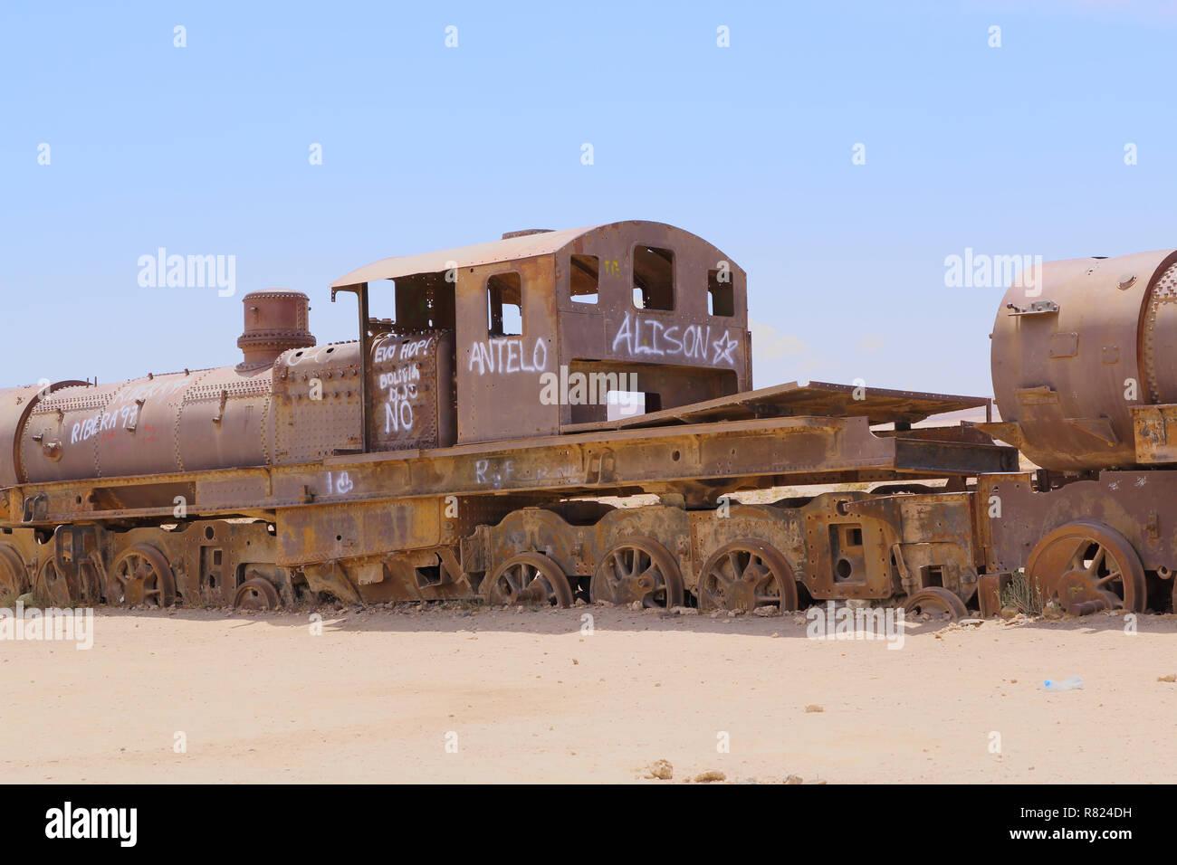 Uyuni, Bolivia. Rusty old steam locomotive. train cemetery on Bolivian altiplano. Stock Photo