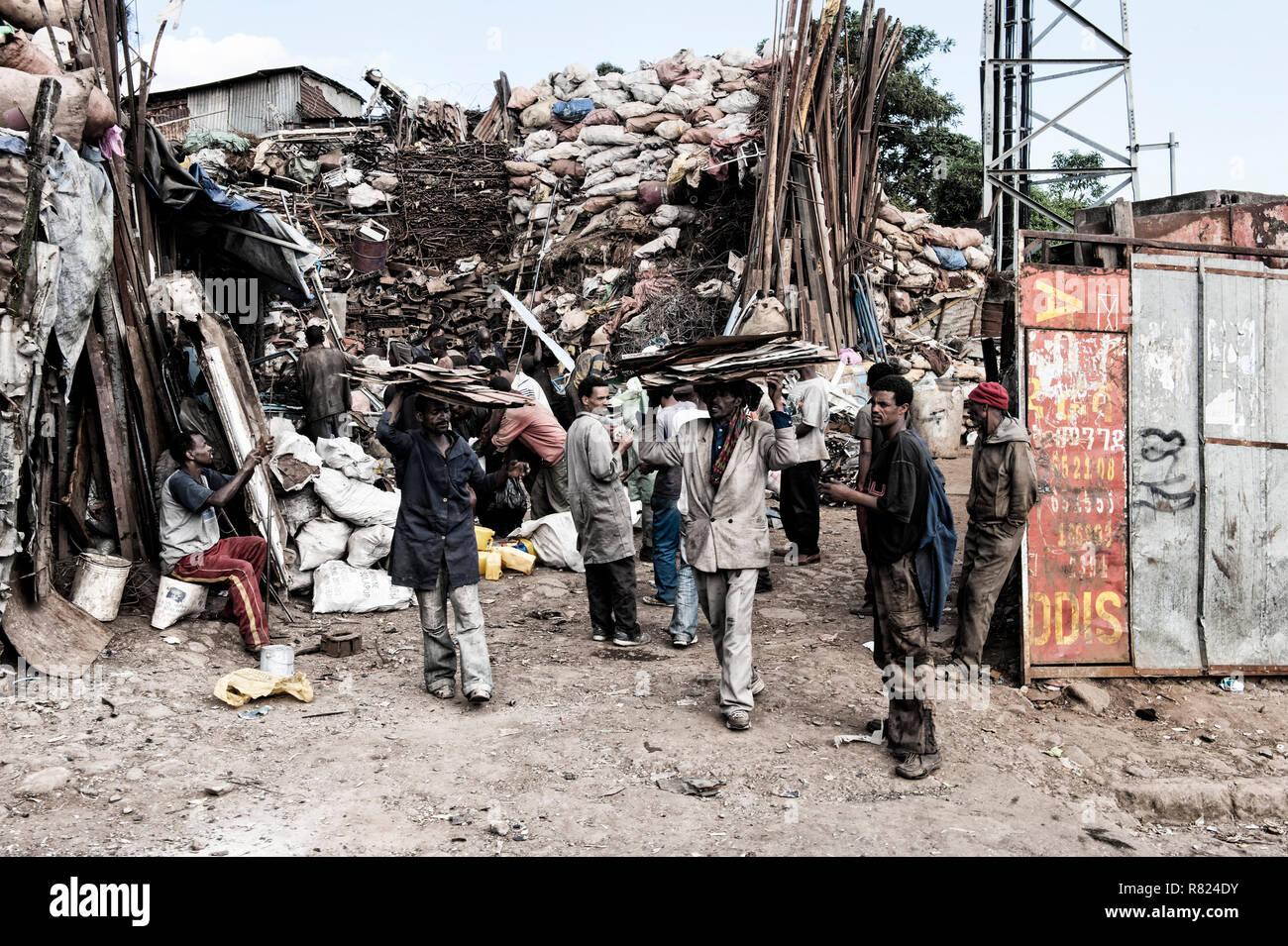 Metals trade, market street scene, Mercato of Addis Ababa, Addis Ababa, Oromia Region, Ethiopia - Stock Image