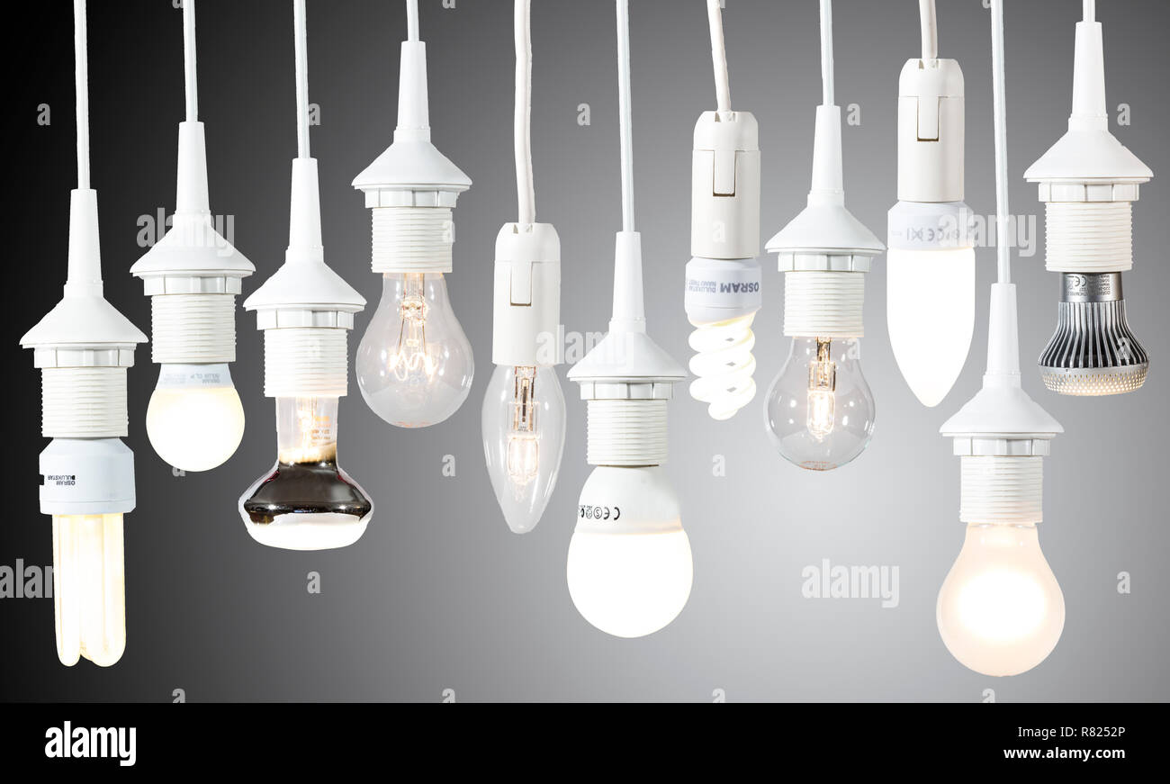 Various lamps, light bulbs, energy saving lamps and LED lamps - Stock Image