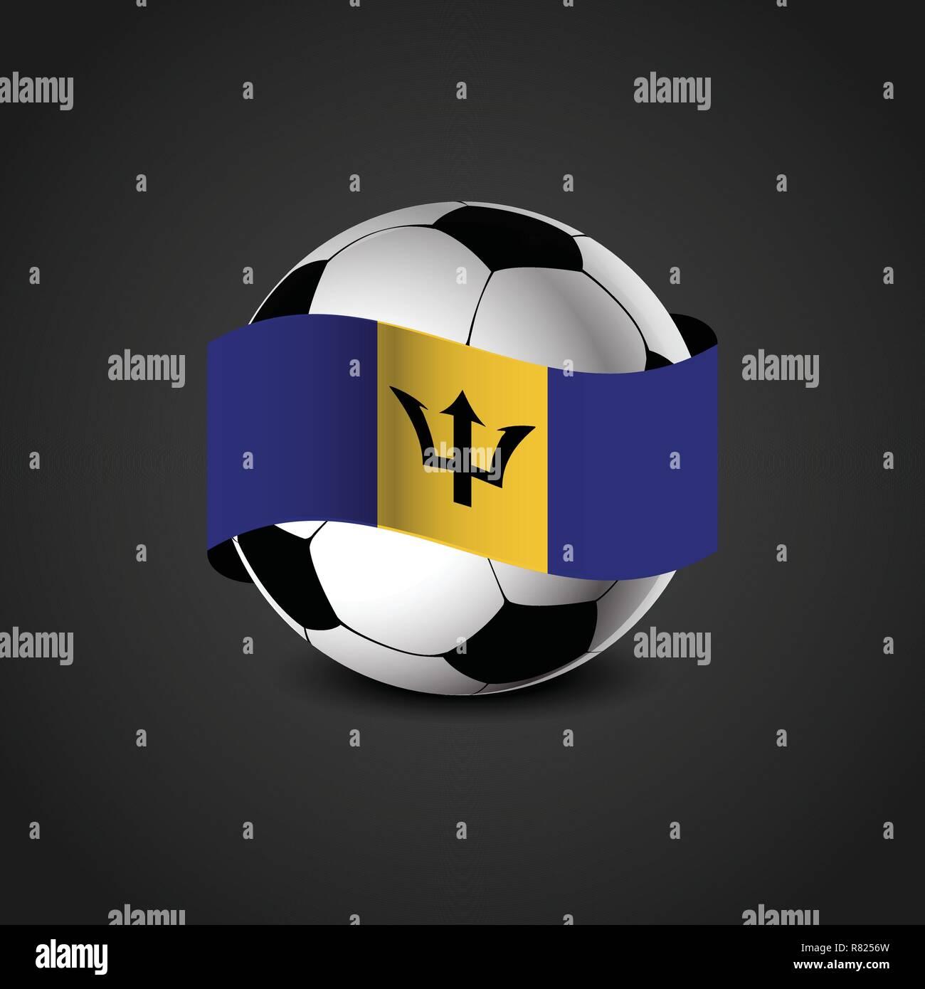 Barbados Flag Around the Football - Stock Vector