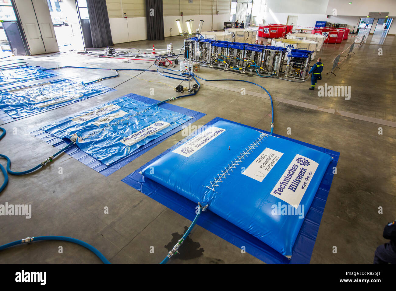 Drinking water treatment plant of the THW, Federal Agency for Technical Relief, TWAA UF-15, mobile water supply system for use - Stock Image