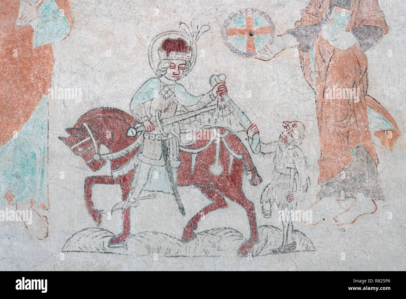 St. Martin and the Beggar, medieval mural painting, church of Hejdeby, diocese of Visby, island of Gotland, Sweden - Stock Image