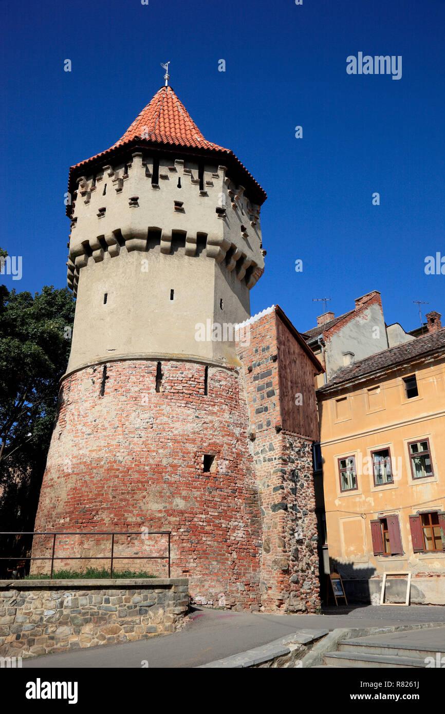 Tower of the Haller Bastion, Sibiu oder Hermannstadt, Siebenbürgen, Romania - Stock Image