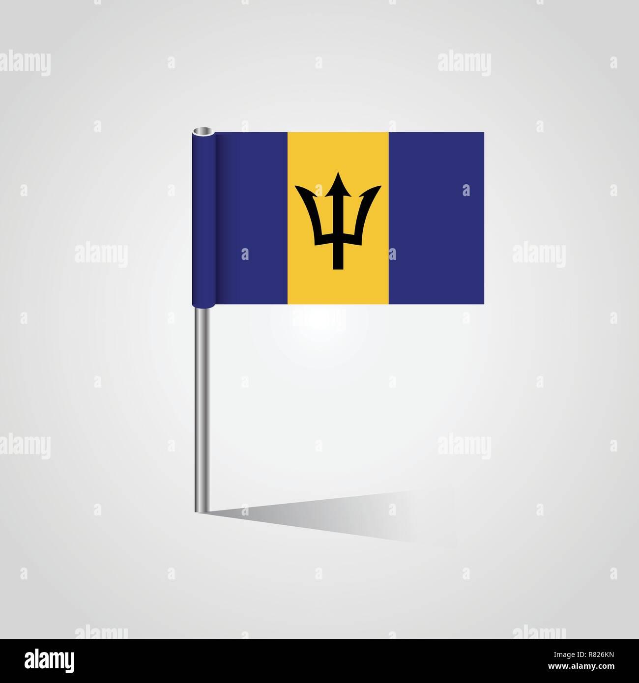 Barbados Flag Map Pin - Stock Vector