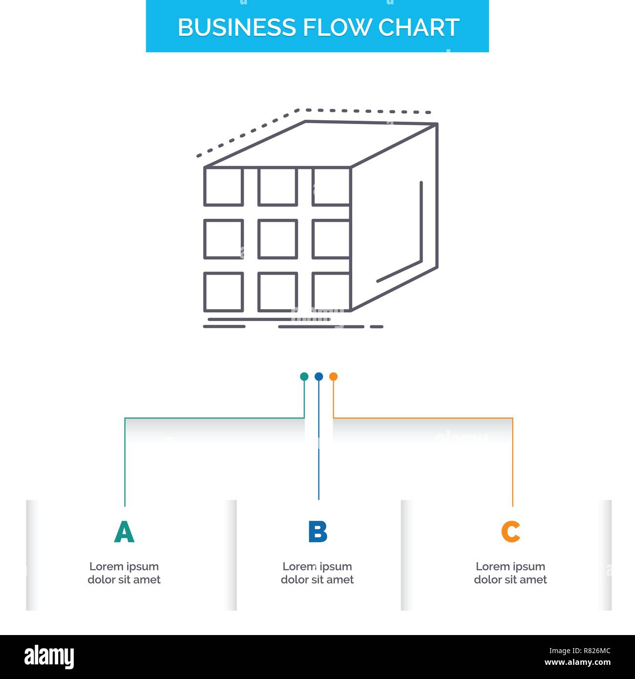 Abstract, aggregation, cube, dimensional, matrix Business Flow Chart Design with 3 Steps. Line Icon For Presentation Background Template Place for tex - Stock Vector
