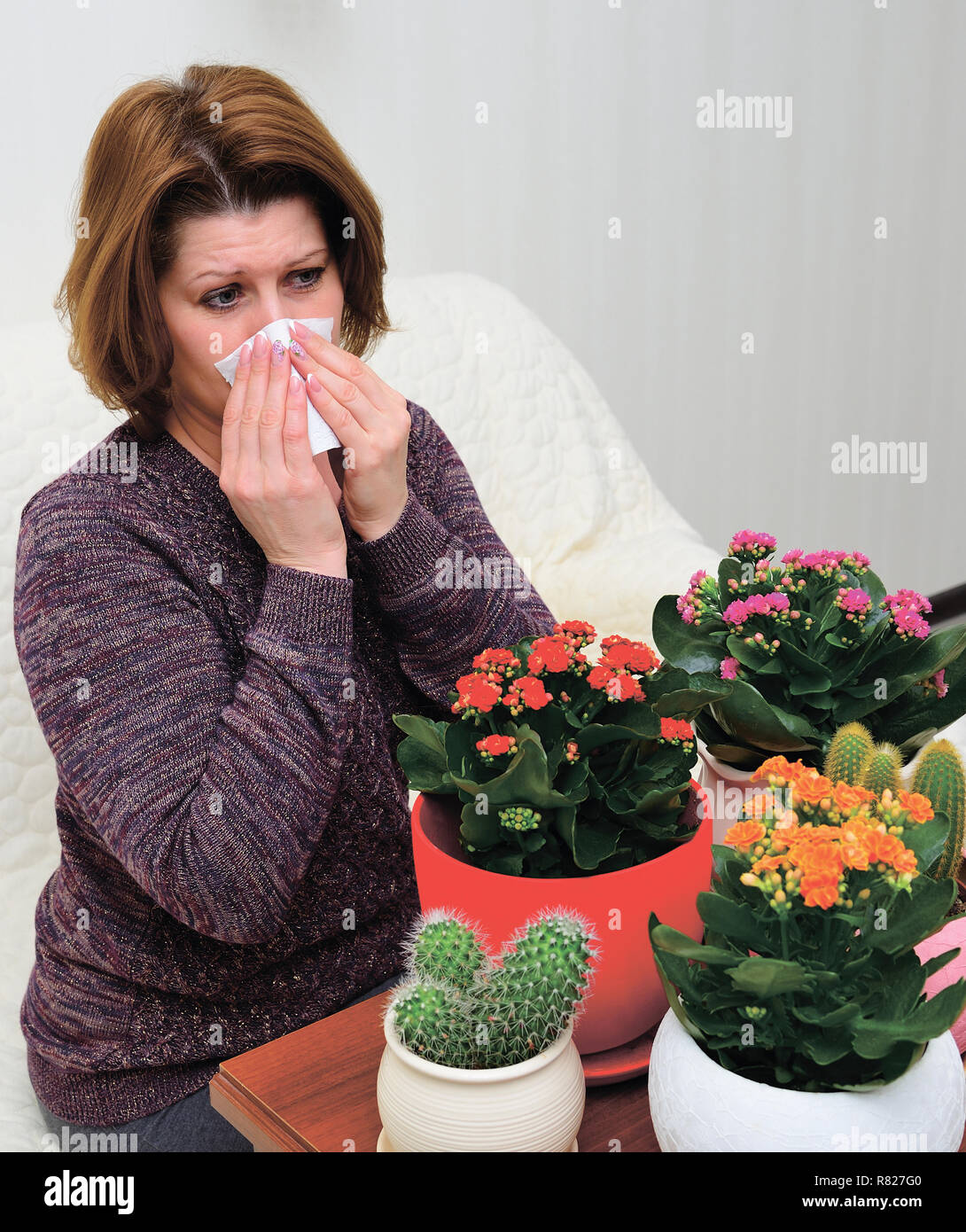 Woman with allergic rhinitis from indoor plants - Stock Image