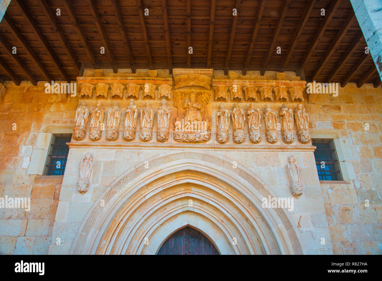 Facade of the Romanesque church. Pison de Castrejon, Palencia province, Castilla Leon, Spain. - Stock Image