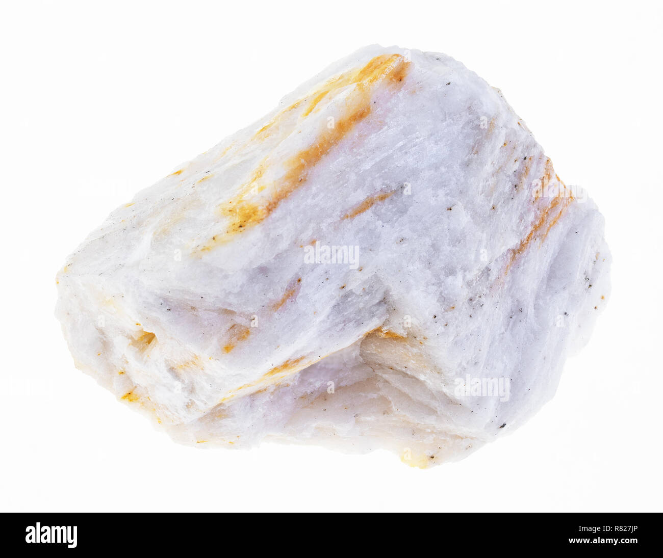 macro photography of natural mineral from geological collection - raw barite (baryte) ore on white background - Stock Image