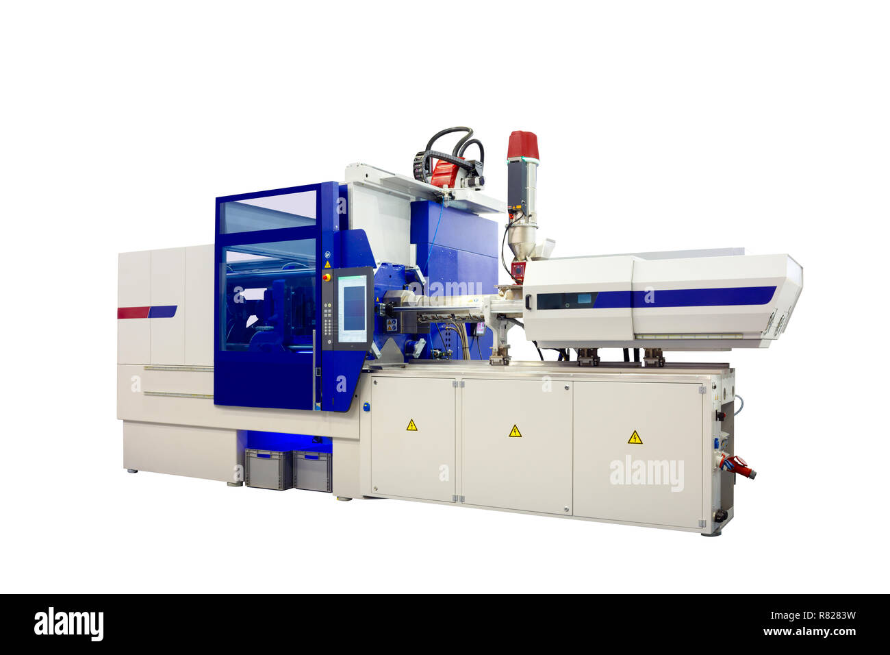 Production machine for manufacture products from pvc plastic extrusion technology - Stock Image