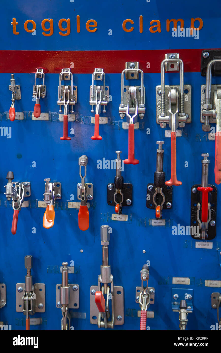 Bangkok, Thailand - November 21, 2018: Push / Pull quick release toggle clamp for industrial machining - Stock Image
