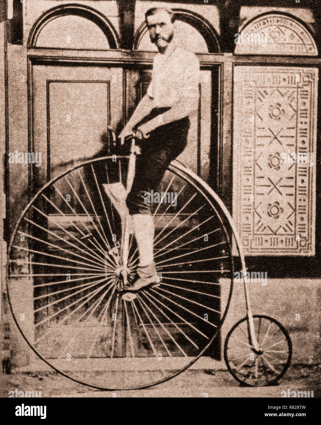 The penny-farthing, also known as a high wheel, high wheeler and ordinary, was the first machine to be called a 'bicycle' Popular in the 1870s and 1880s, with its large front wheel providing high speeds (owing to it travelling a large distance for every rotation of the legs) and comfort (the large wheel provides greater shock absorption), it became obsolete from the late 1880s with the development of modern bicycles, which provided similar speed amplification via chain-driven gear trains and comfort through pneumatic tyres, and were marketed in comparison to penny-farthings as 'safety bicycles - Stock Image