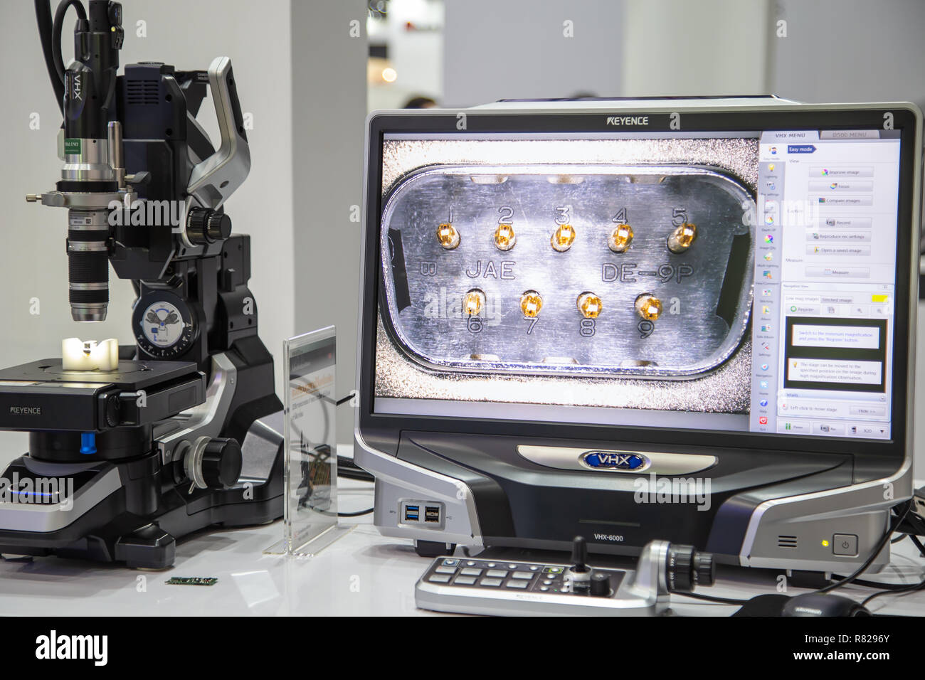Bangkok, Thailand - November 21, 2018: Surface roughness evaluation of workpiece by optical microscope display in Metalex 2018 - Stock Image