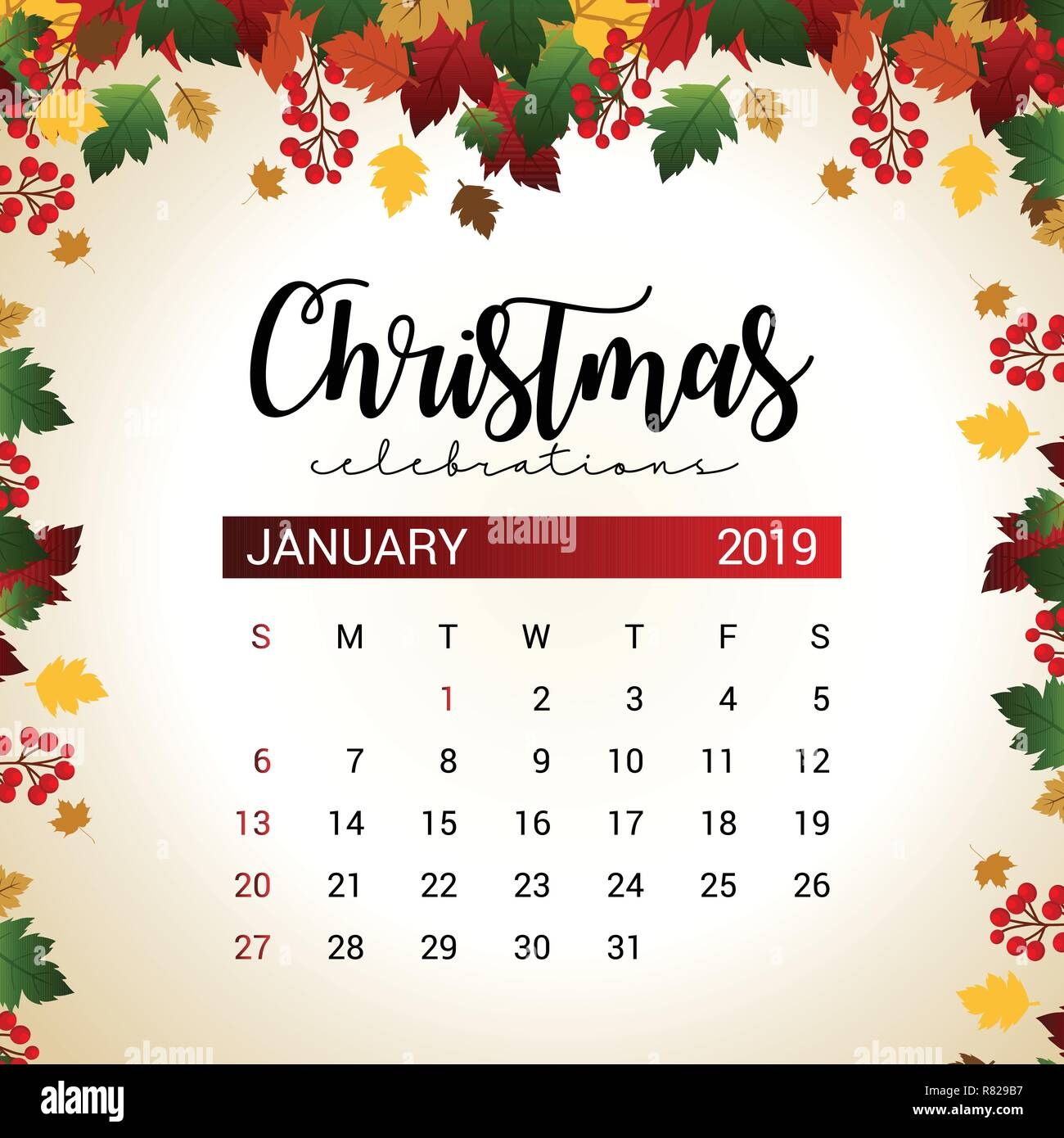 January 2019 Calendar Design 2019 January calendar design template of Christmas or New Year