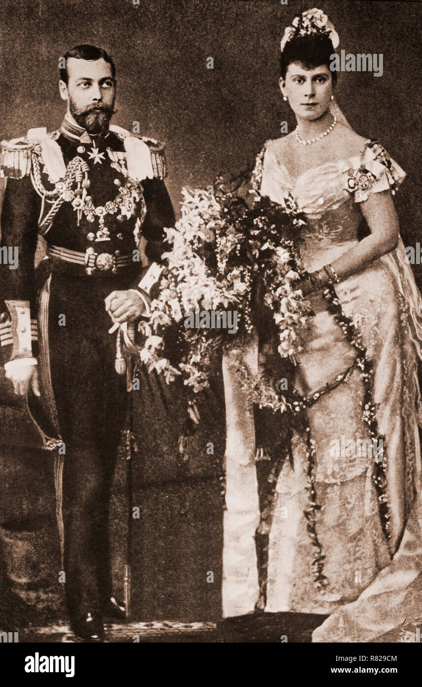 The marriage of the Duke of York (future King George V) to Princess Victoria Mary, July 6th 1893 in the Chapel Royal of St James Palace. She became the Duchess of York prior to becoming Queen Consort. - Stock Image