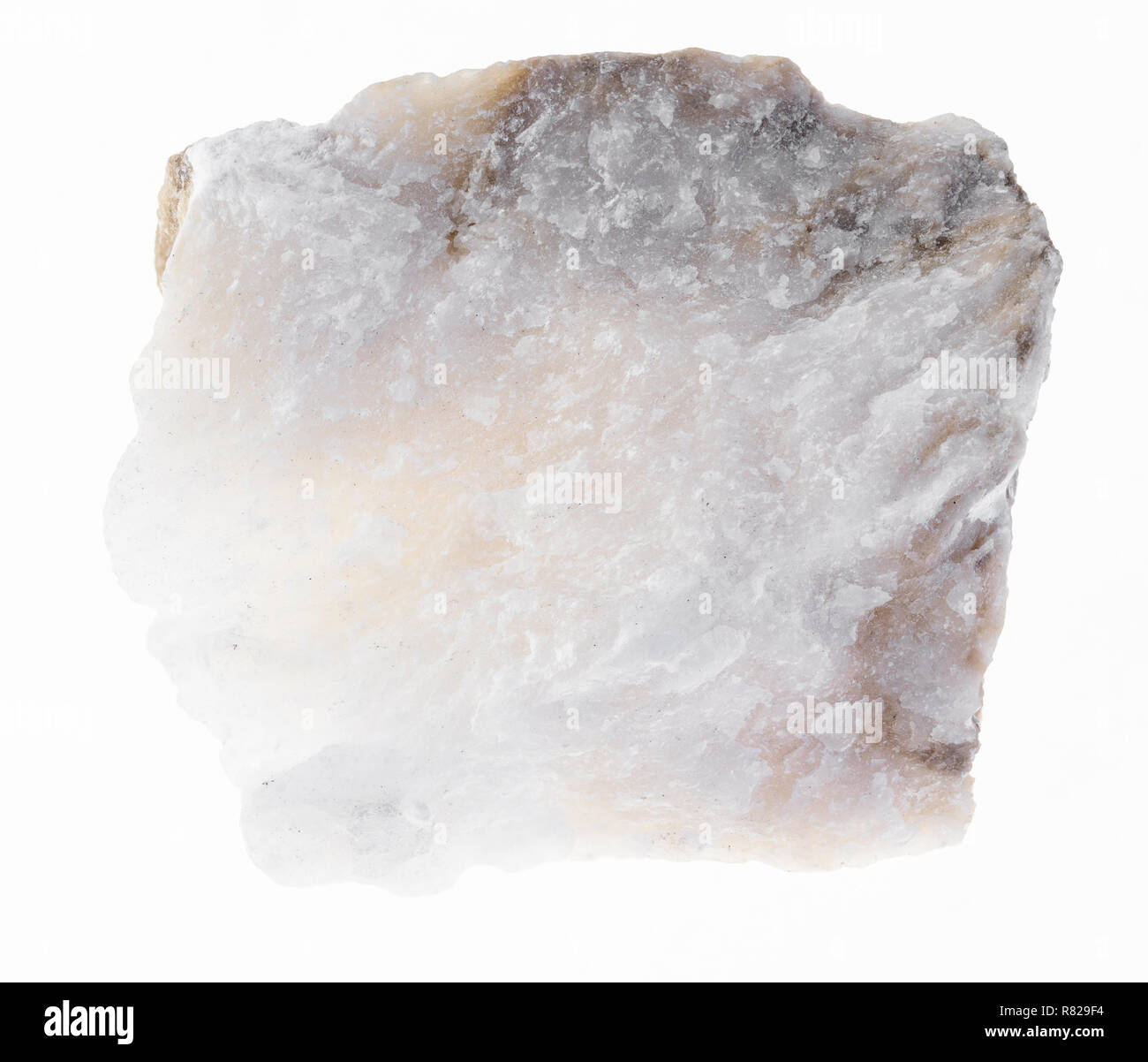 macro photography of natural mineral from geological collection - rough Anhydrite stone on white background Stock Photo