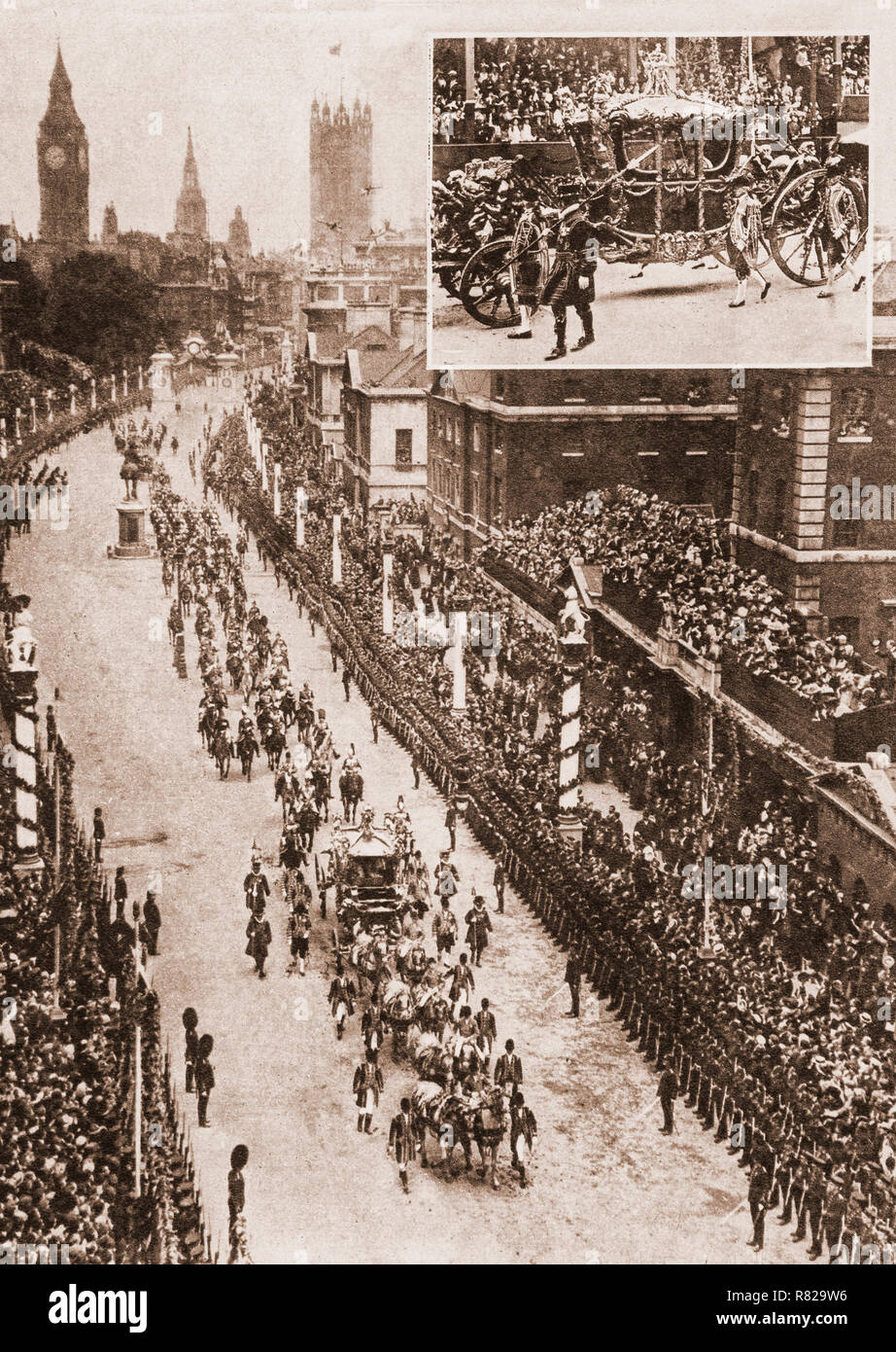 The coronation procession of George V and Mary of Teck as King and Queen of the United Kingdom and the British Empire en route for Westminster Abbey, London, on 22 June 1911. This was second of four such events held during the 20th century and the last to be attended by royal representatives of the great continental European empires. - Stock Image