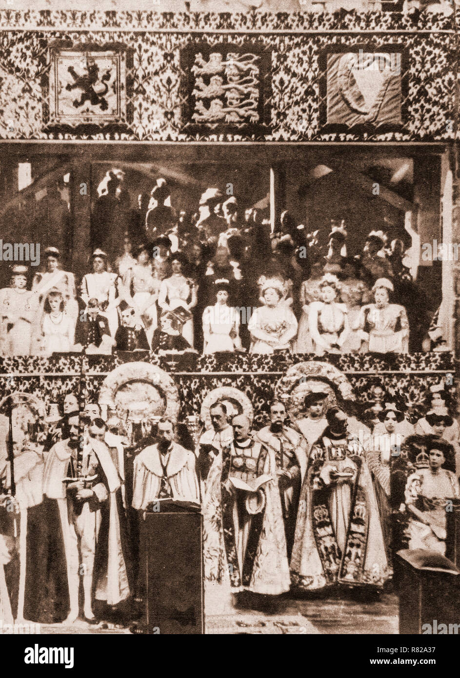 The coronation of George V and Mary of Teck as King and Queen of the United Kingdom and the British Empire taking place at Westminster Abbey, London, on 22 June 1911. This was second of four such events held during the 20th century and the last to be attended by royal representatives of the great continental European empires. - Stock Image