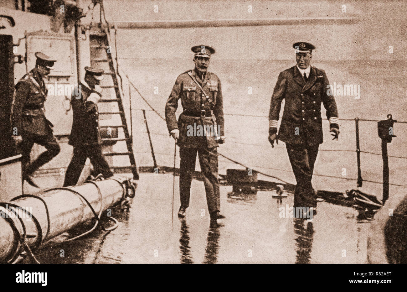 Lord Kitchener on HMS Iron Duke before leaving for a mission to Russia. Eventually the ship was torpdoed or mined, to sink with all hands on June 5th, 1916. - Stock Image