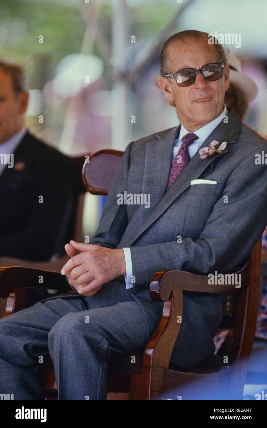 Prince Philip, Duke of Edinburgh. Barbados, Circa 1989 Stock Photo