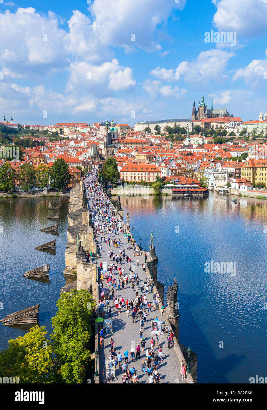 Prague Charles Bridge Prague over the Vltava River with Prague Castle and St Vitus's Cathedral Mala Strana Prague Czech Republic Europe Stock Photo