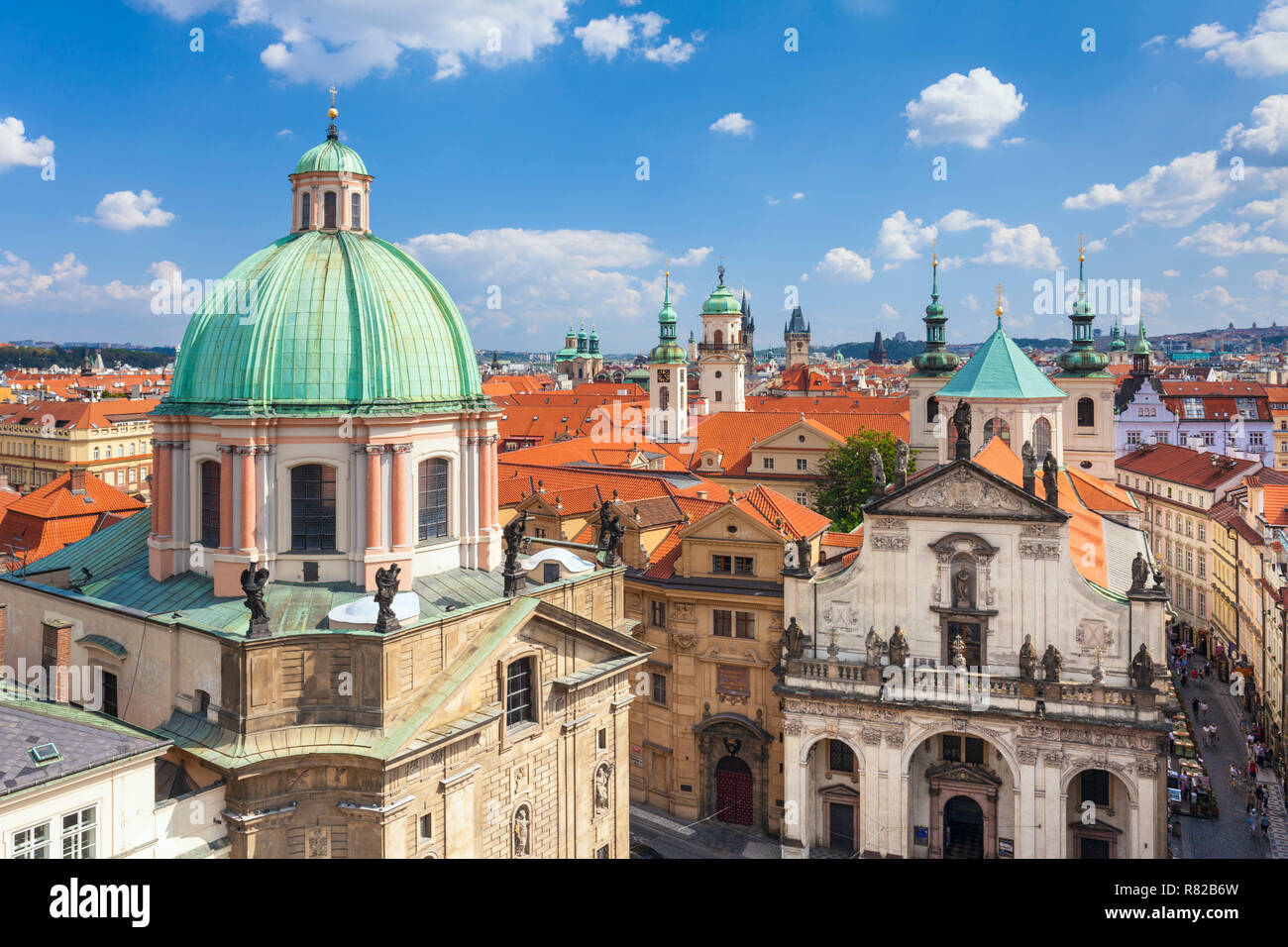 Prague old town Staré Město St. Francis Of Assisi Church Rooftop spires and towers of churches and old baroque buildings Prague Czech Republic Europe Stock Photo