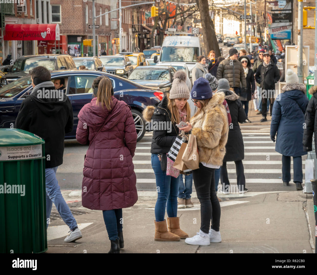 Shoppers in Soho in New York on Saturday, December 8, 2018 during the Christmas shopping season. (© Richard B. Levine) Stock Photo