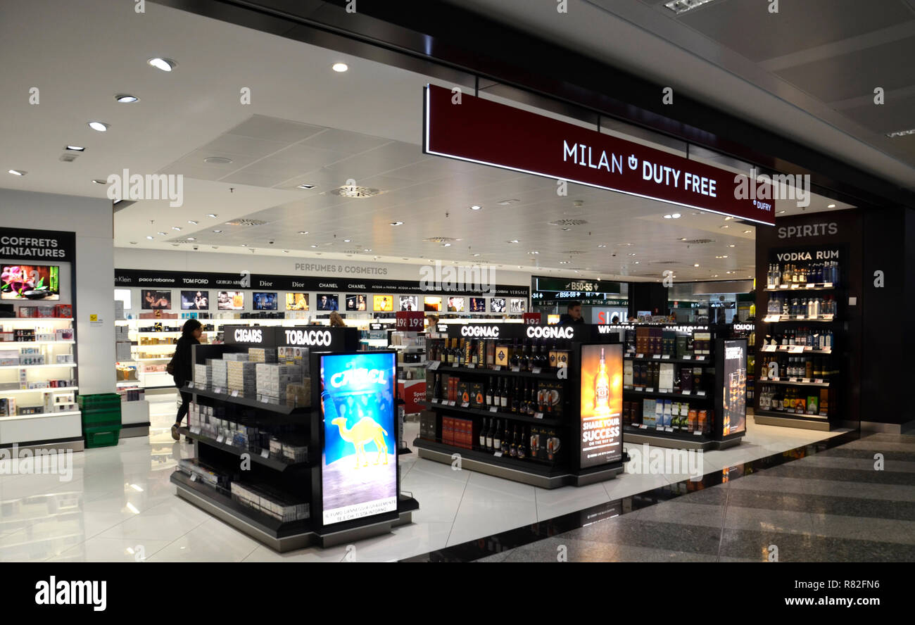 The interior of Malpensa, the biggest airport near Milano. 2018 - Stock Image