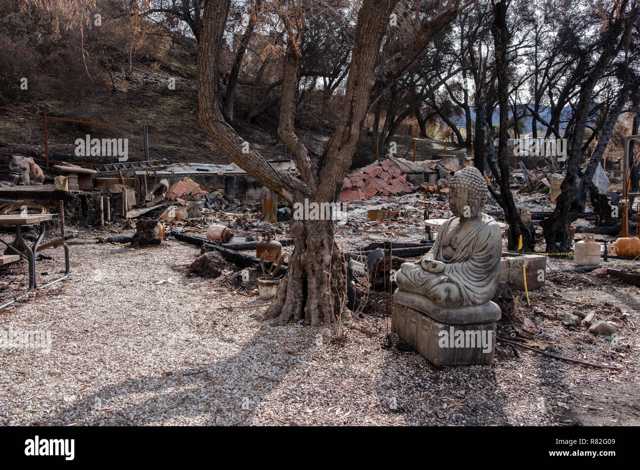 Remains of Randy's Roadhouse roadside restaurant after Malibu wildfire of November 2018 California, USA - Stock Image
