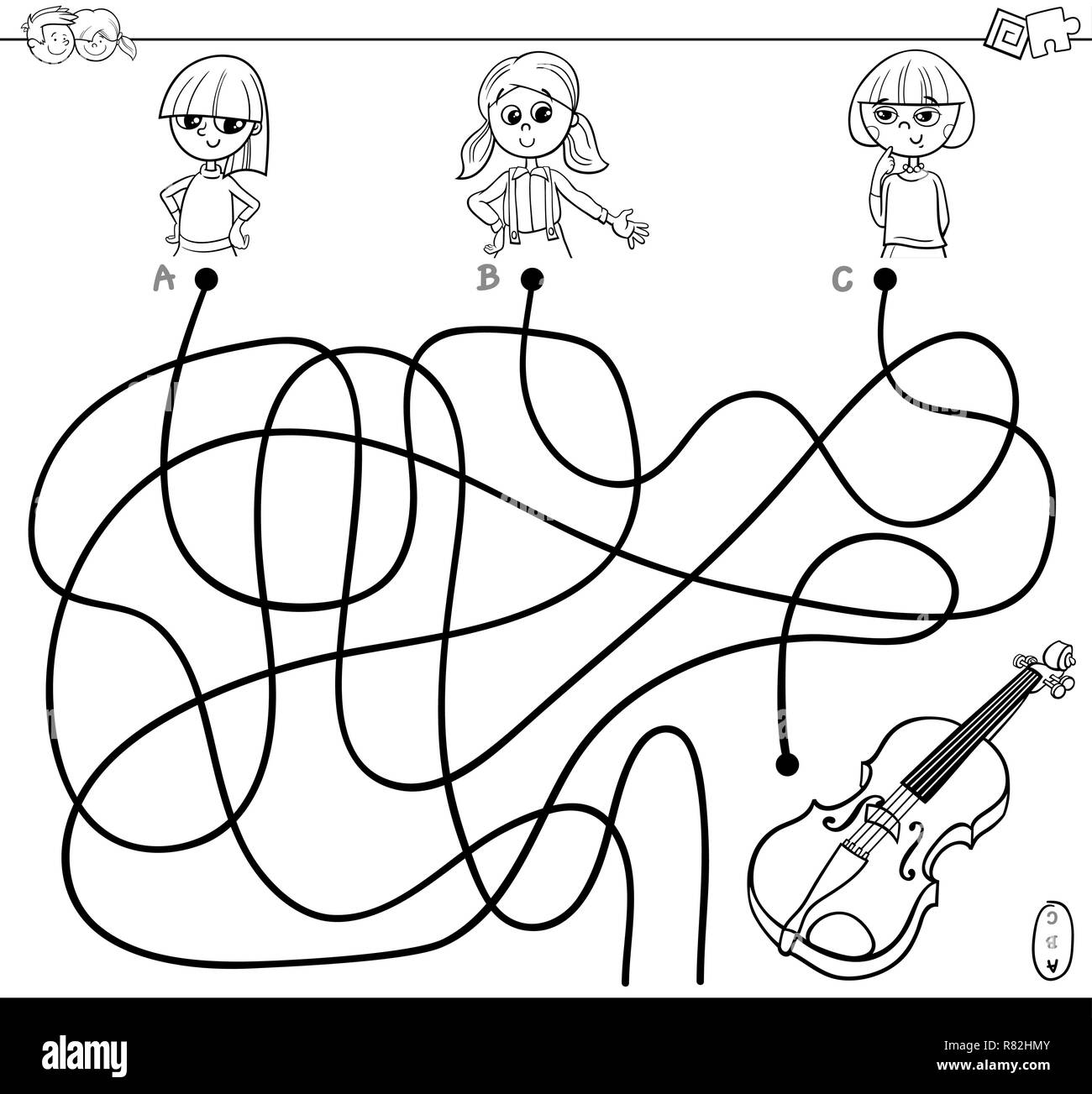 Black and white cartoon illustration of paths or maze puzzle game with girls and violin coloring book