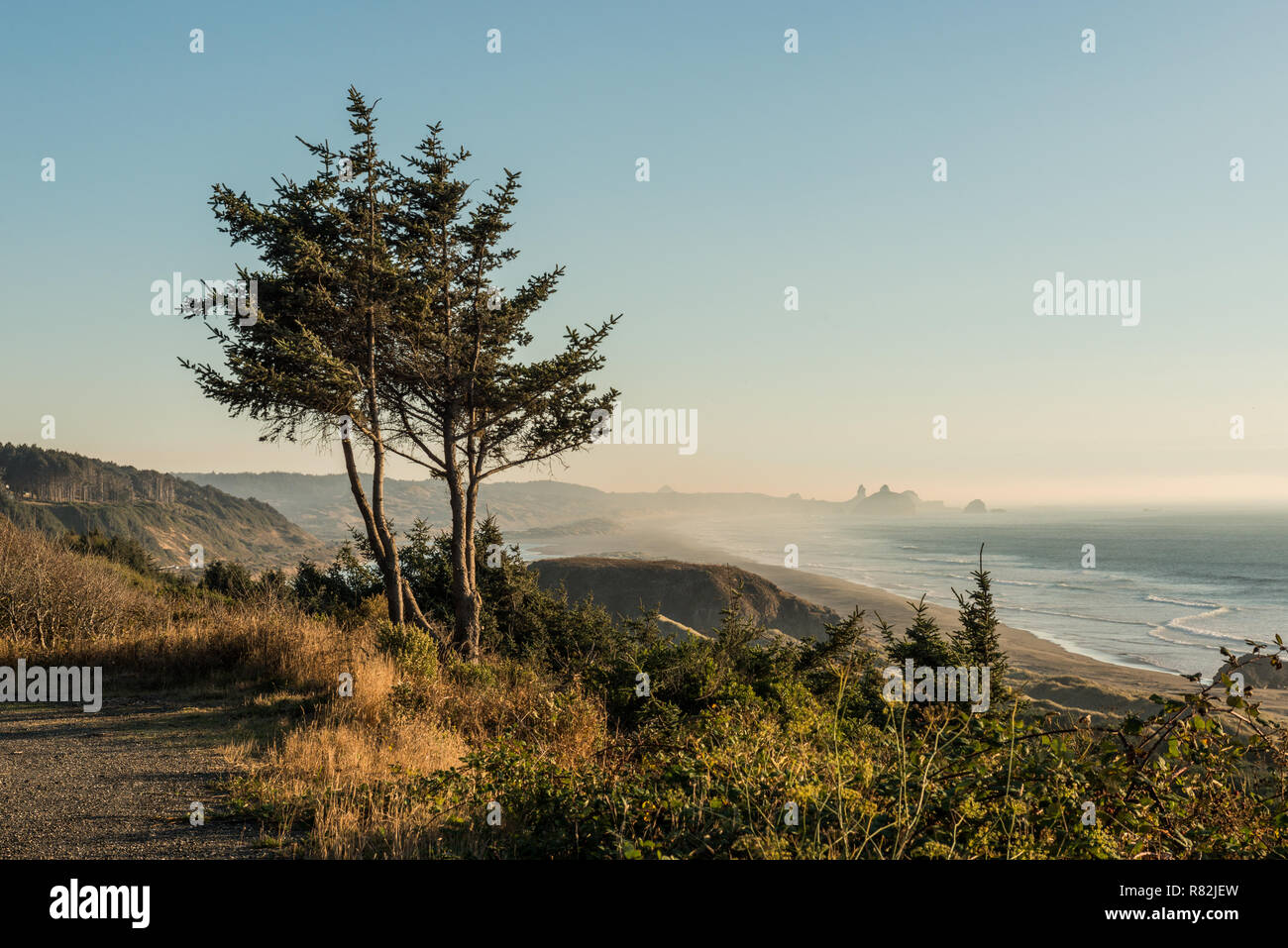 Sunset views of the south coast of Oregon - Stock Image