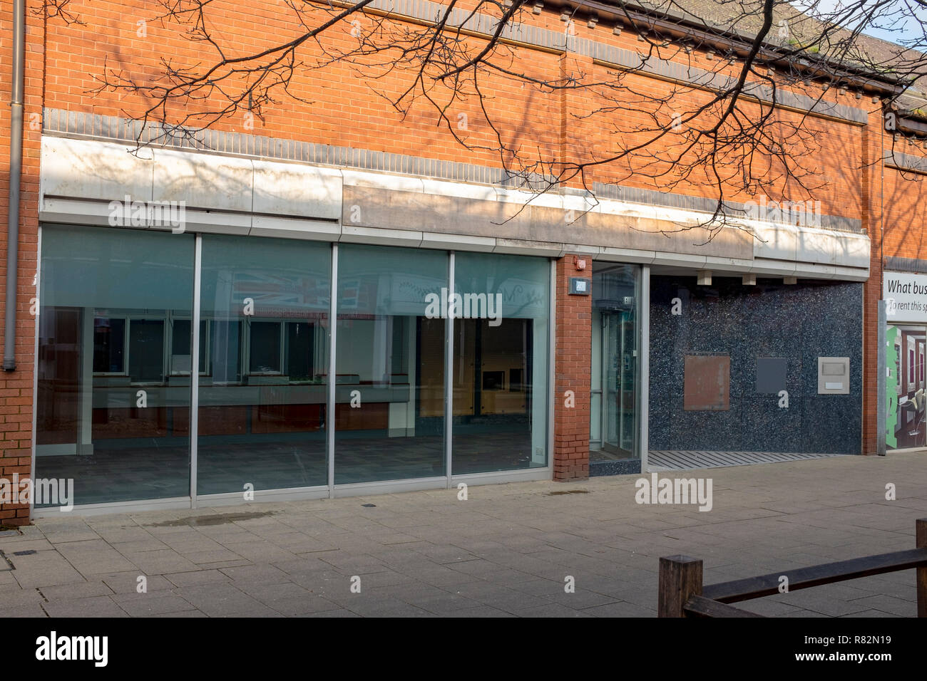 Closed down bank with removed ATM and night safe in Crewe Cheshire UK - Stock Image