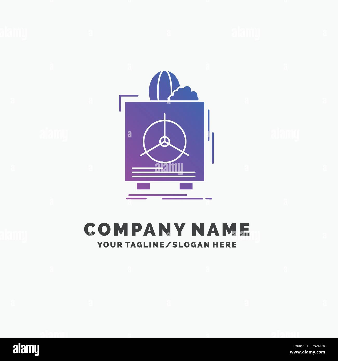 insurance, Fragile, product, warranty, health Purple Business Logo Template. Place for Tagline. - Stock Vector