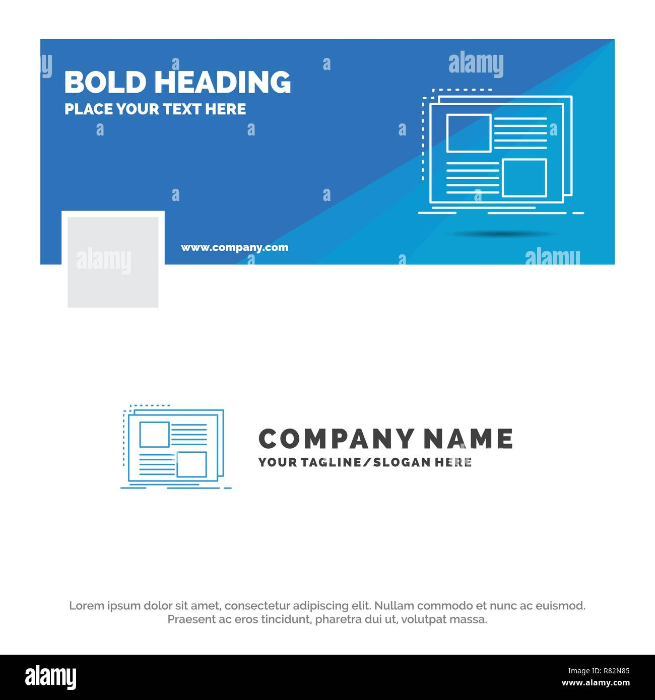 blue business logo template for content design frame page text