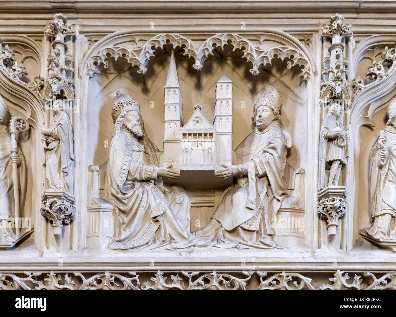 Carvings under the organ loft in Bremen Cathedral (St Petri Dom), Bremen, Germany Stock Photo