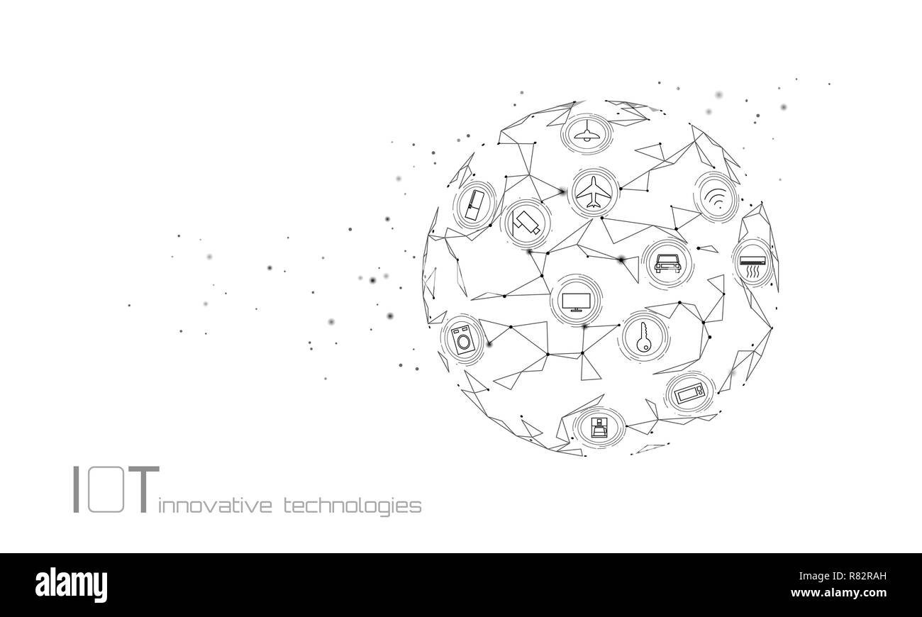 Planet Earth internet of things icon innovation technology concept. Wireless communication network IOT ICT. Intelligent system automation white modern AI computer online vector illustration - Stock Image