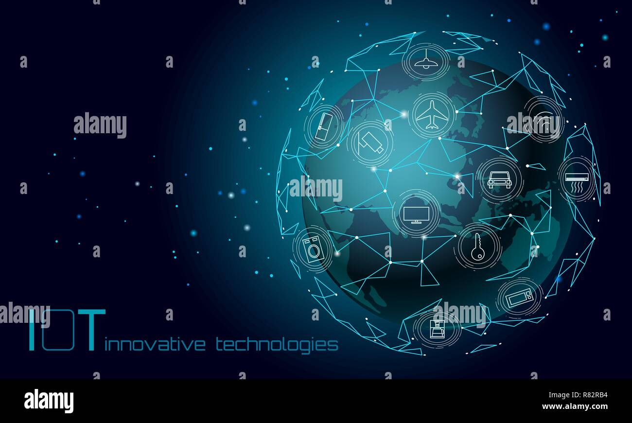 Planet Earth Asia continent internet of things icon innovation technology concept. Wireless communication network IOT ICT. Intelligent system automation modern AI computer online vector illustration - Stock Image
