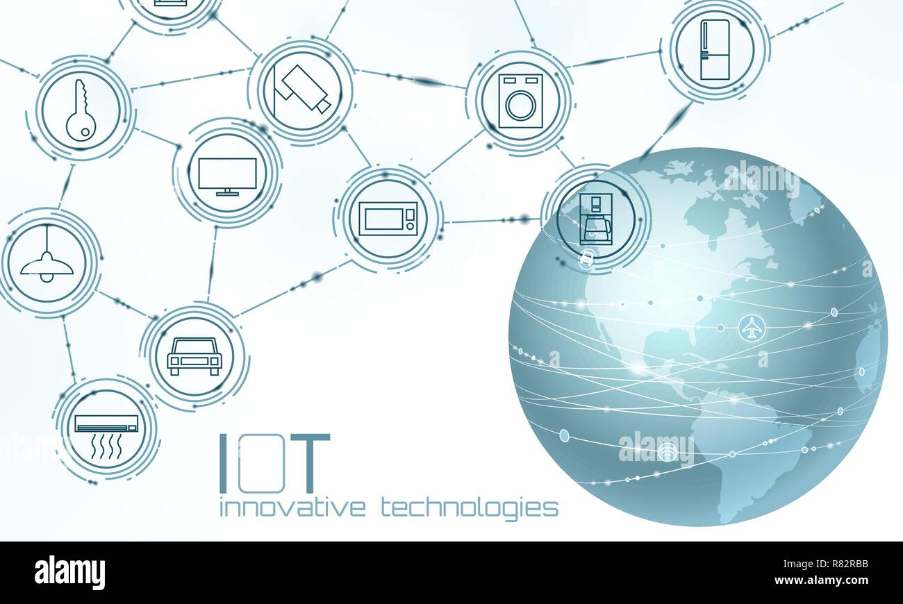Planet Earth America USA continent internet of things innovation technology concept. Wireless communication network IOT ICT. Intelligent system automation AI computer online vector illustration - Stock Image