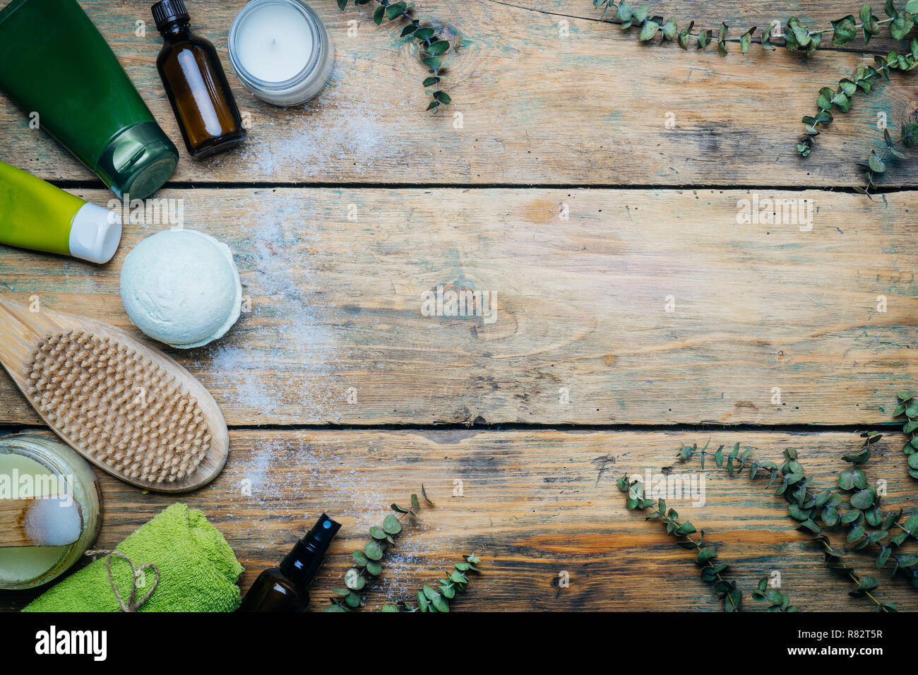 Eucalyptus Spa Concept Eucalyptus Oil Cosmetics Bath Accessories Massage And Relaxation Spa Background On Wooden Table Stock Photo Alamy