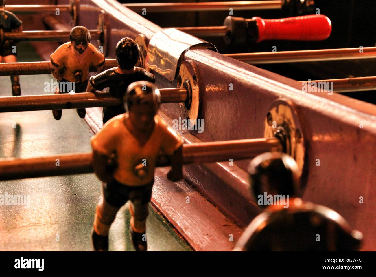 Old foosball table in a bar in Spain - Stock Image