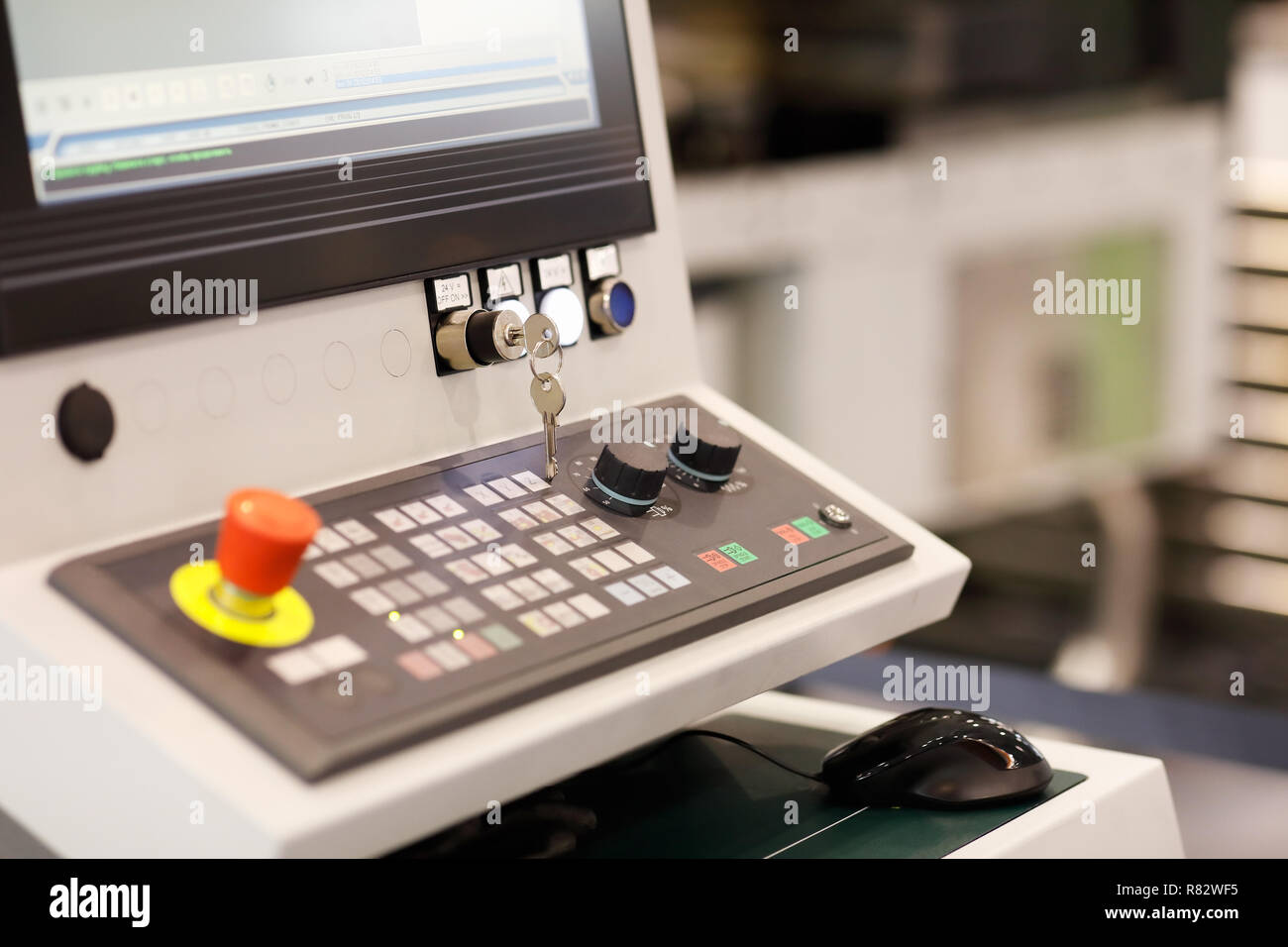 Control panel of multi axis CNC machining center. Selective focus. - Stock Image
