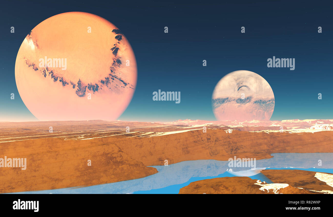 Distant Origins Planet - Beautiful blue methane rivers flow on this alien planet with two moons. - Stock Image