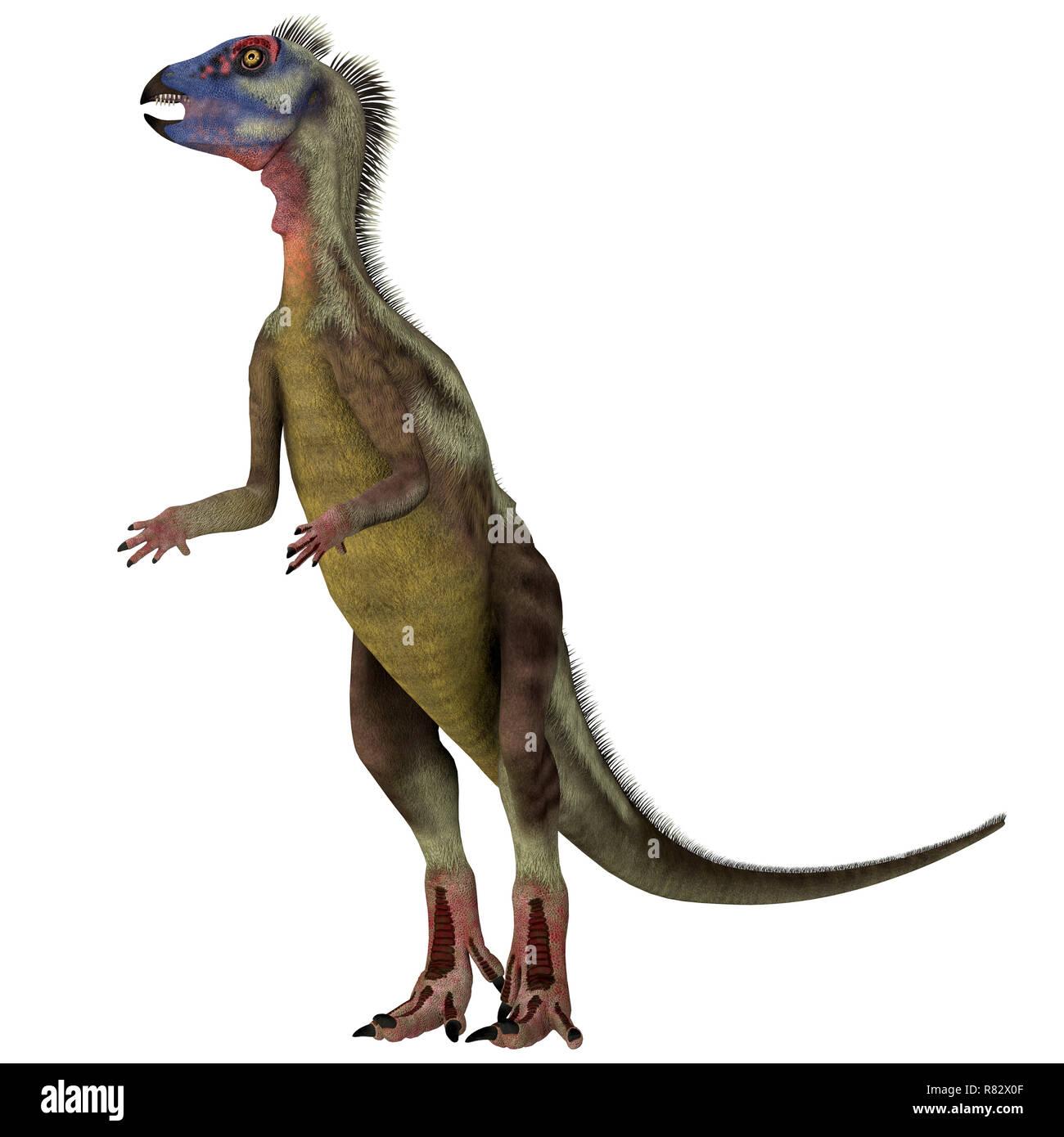 Hypsilophodon Dinosaur on White - Hypsilophodon was a omnivorous ornithopod dinosaur that lived in England during the Cretaceous Period. - Stock Image